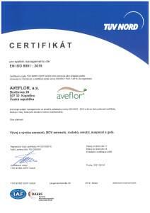 Certificate 9001 2015 CZ
