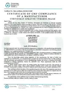 GMP Certificate 2015 (veterinary medicinal products) CZ_ENG_Stránka_1